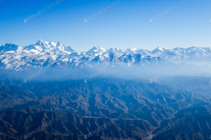 aerial view of mount tianshan landscape