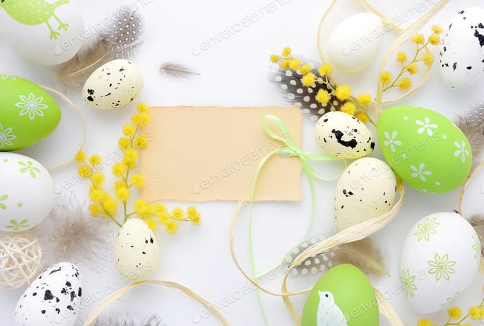 Easter eggs and mimosa flowers on white background with blank ca