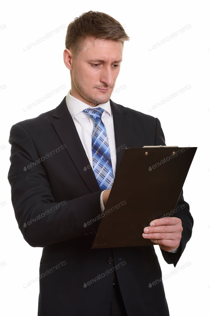 Handsome Caucasian man isolated against white background