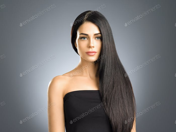 Beautiful hair woman with long brunette beauty helathy hairstyle female portrait