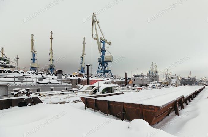 Port cranes in winter
