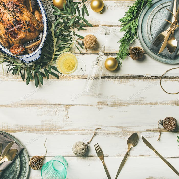 Thumbnail for Christmas or New Year celebration table setting with roasted chicken