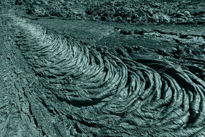 Undulating Surface of Frozen Lava Plain, Rolls Resembling Twisted. Creative Coloring Image