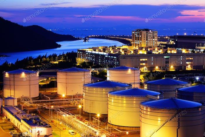 Oil tank in cargo terminal