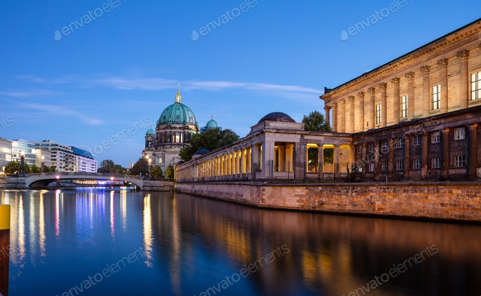 Bode museum illuminated, Spree river, museum island, Berlin, in the evening.