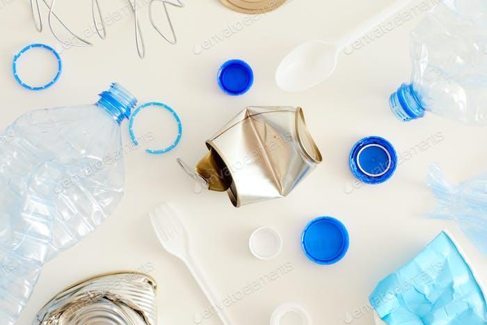 Trash Items on White Background