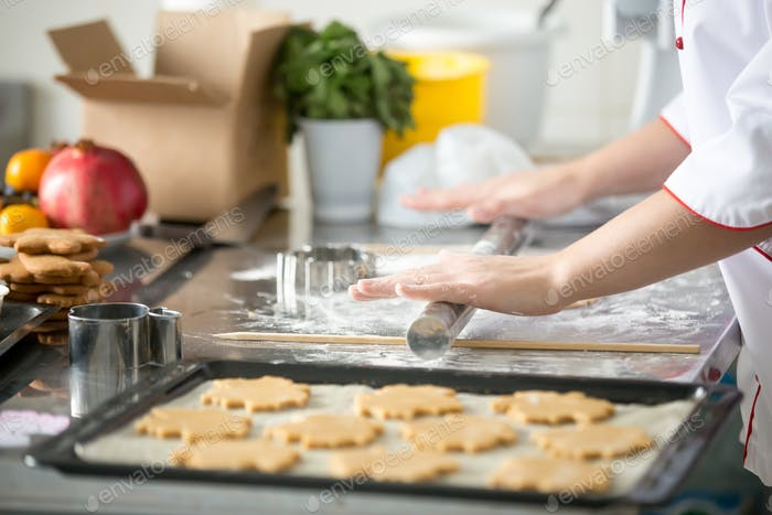 Gingerbread cookies in on a tray, female hands rolling dough