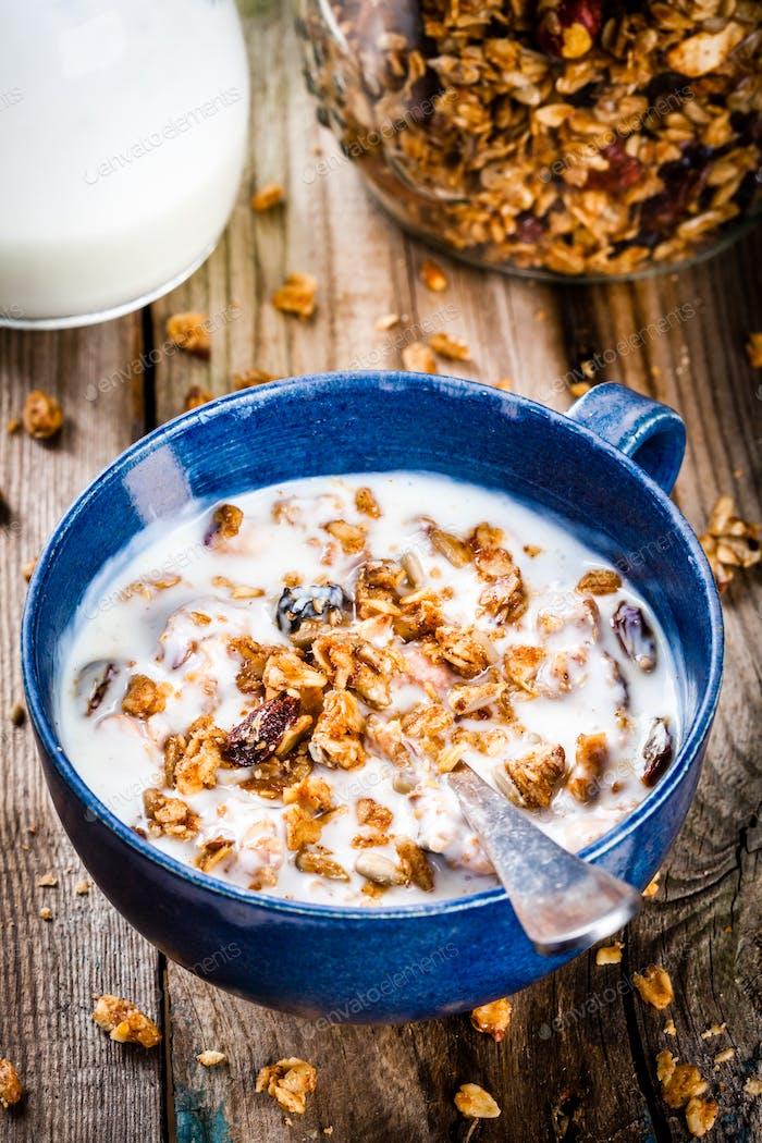 Breakfast: homemade granola with yogurt