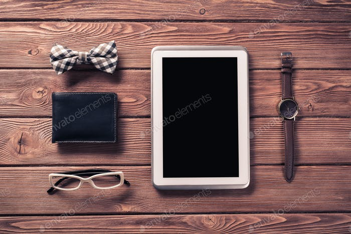 Hipster set on wooden table