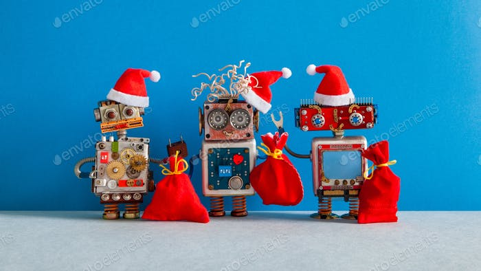 Three Christmas Santa Claus robotic toys dressed in red holiday hat.
