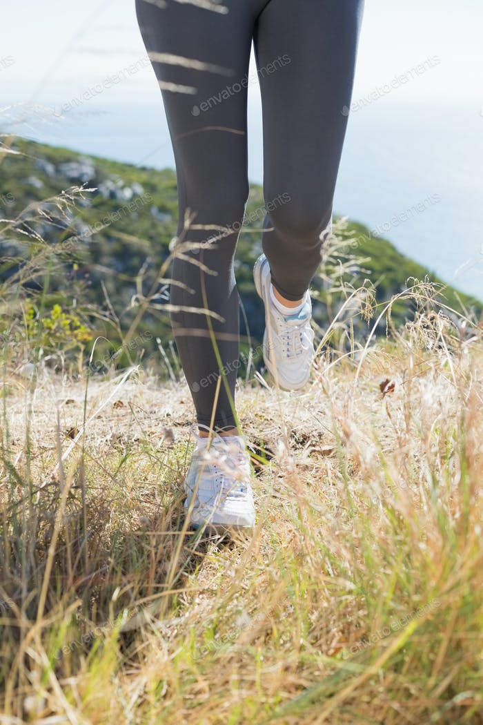 Fit woman jogging on mountain trail on a sunny day