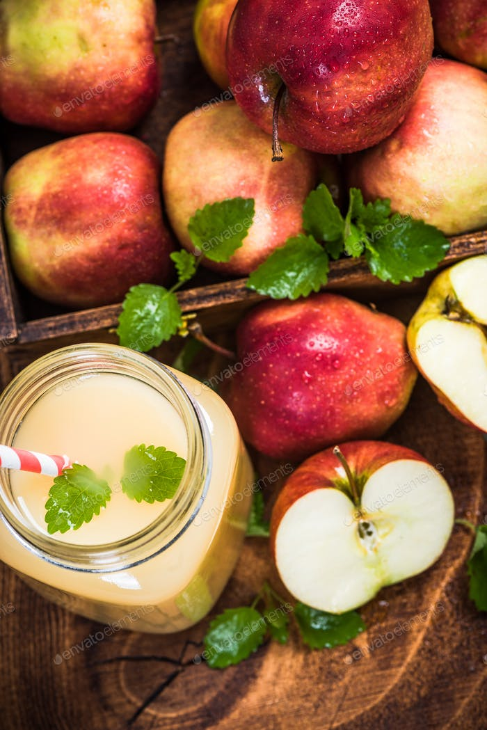 Apple juice in jug with mint