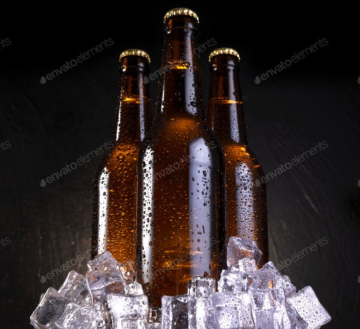 Cold beer with water drops, beer bottles with ice cubes