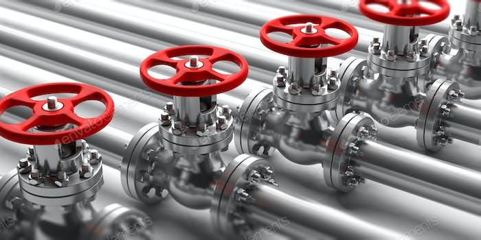 Industrielle Rohrleitungen und Ventile schließen sich auf weißem Hintergrund. 3D Illustration