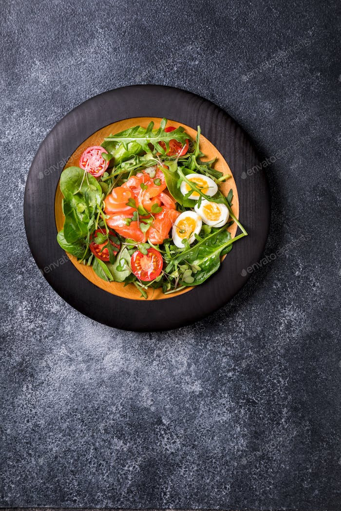 Salmon Salad with Vitamins in vegetables and herbs
