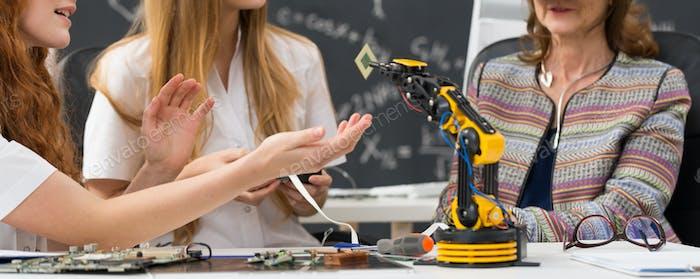 Students during biorobotics lectures