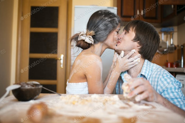 Kiss on the kitchen