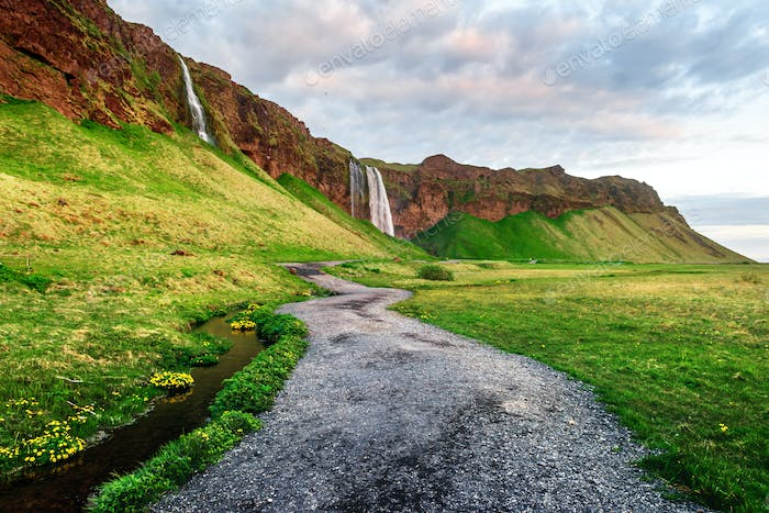 Sunrise on Seljalandfoss waterfall