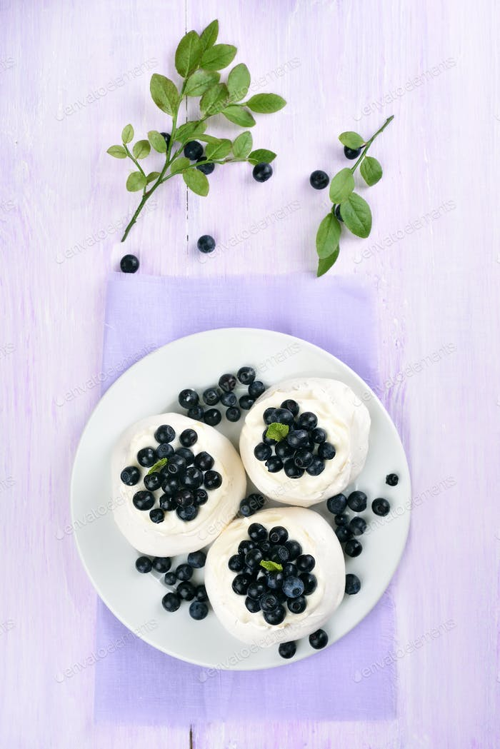 Meringue cake with blueberry, top view