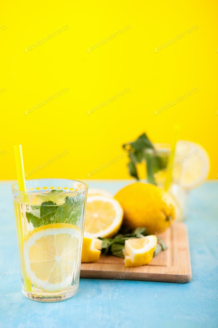Fresh and tasty lemonade in two glasses