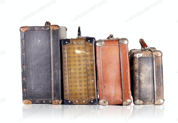 A number of old suitcases