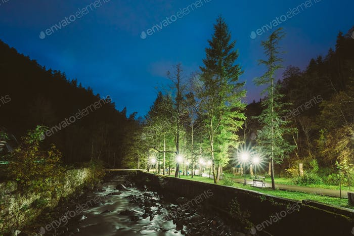 Borjomi, Samtskhe-Javakheti, Georgia. Scenic Night View Of Borjo