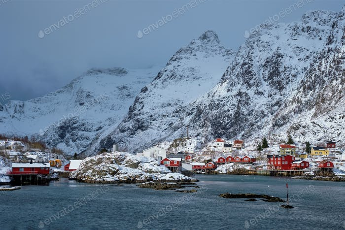 """A"" village on Lofoten Islands, Norway"