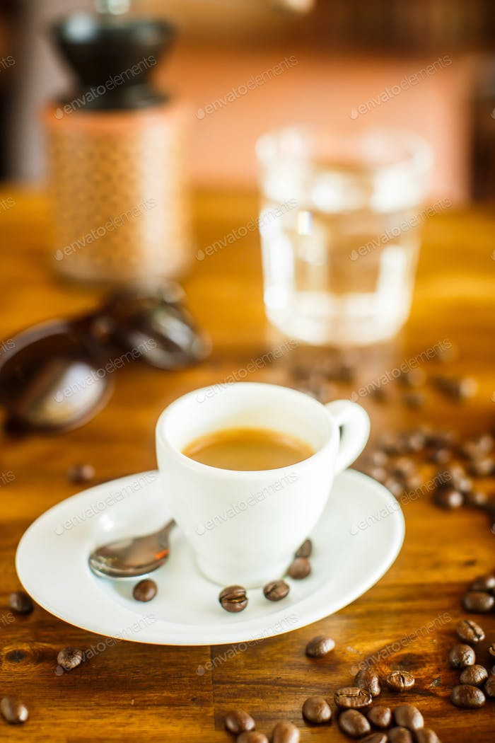 Espresso , coffee beans , water