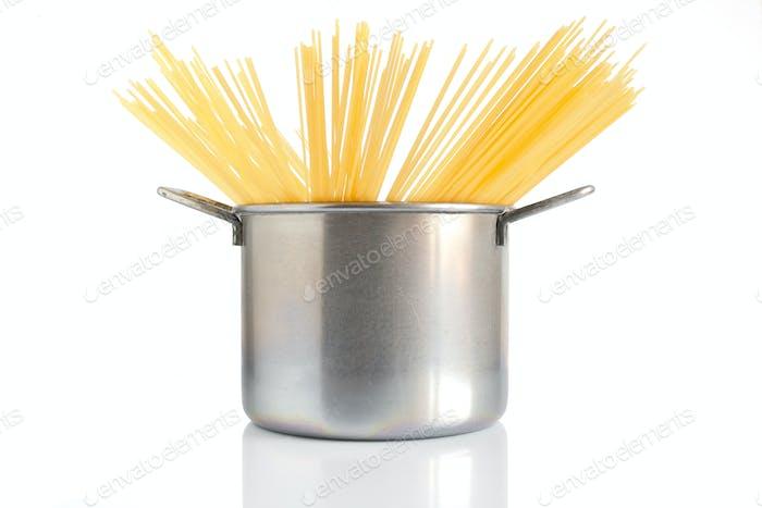 Topf und Spaghetti