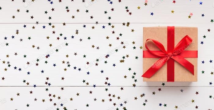 Christmas craft gift box on white background