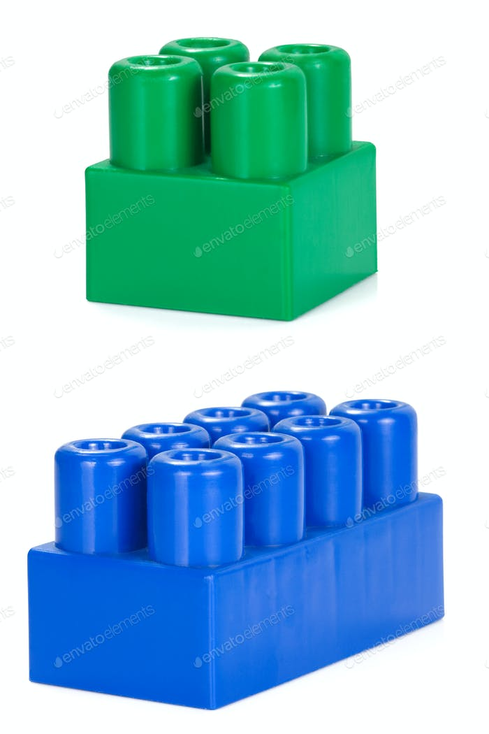 colorful plastic bricks isolated on white