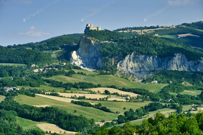 Landscape in Romagna at summer:, view of San Leo
