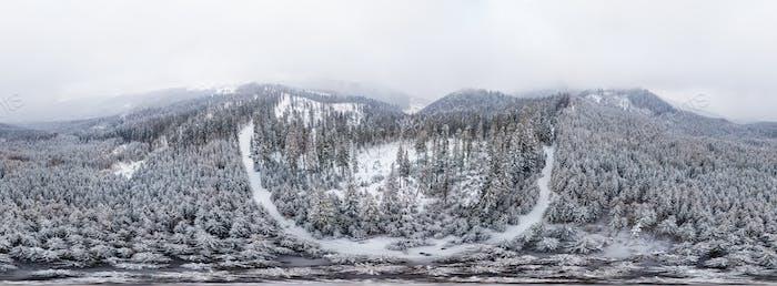 Stunning ski panorama of white snowy cliffs