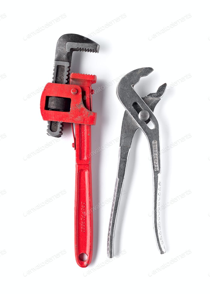 Two used pipe wrench isolated on white background