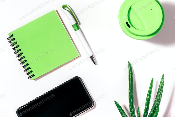 Flat lay of with cropped smartphone, green notepad, pen, reusable coffee cup and aloe vera plant