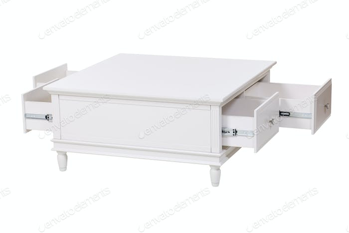 White wooden stand with open drawers over white.
