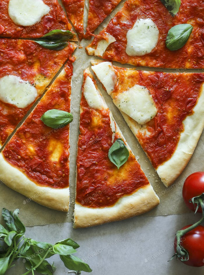 Homemade vegan Margherita pizza food photography