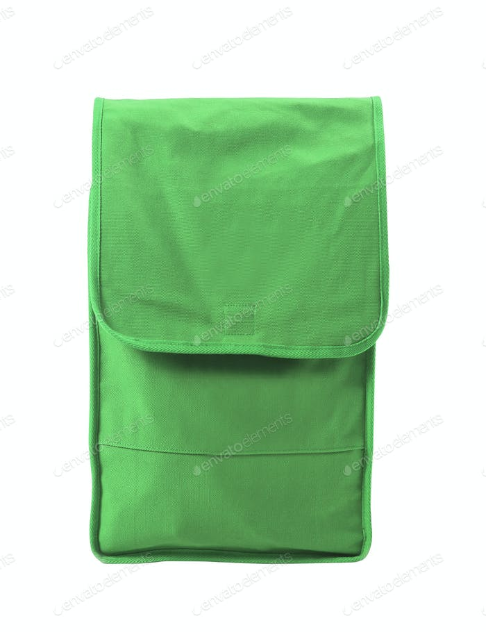 green pocket bag on white background