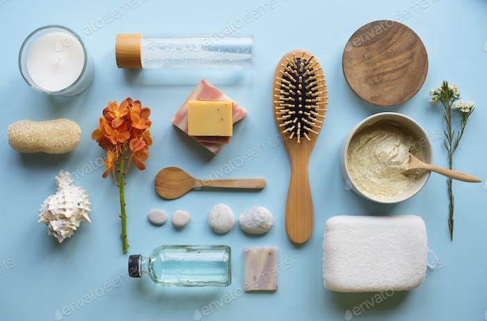 Hautpflege Aromatherapie Objekte Flatlay