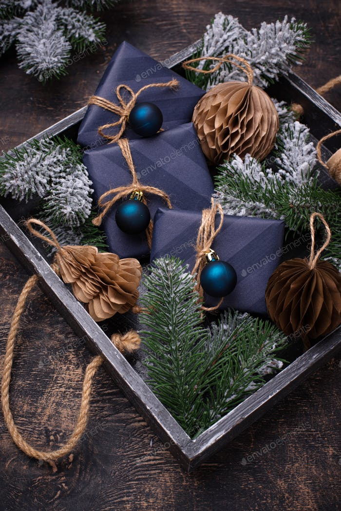Christmas composition with gift boxes