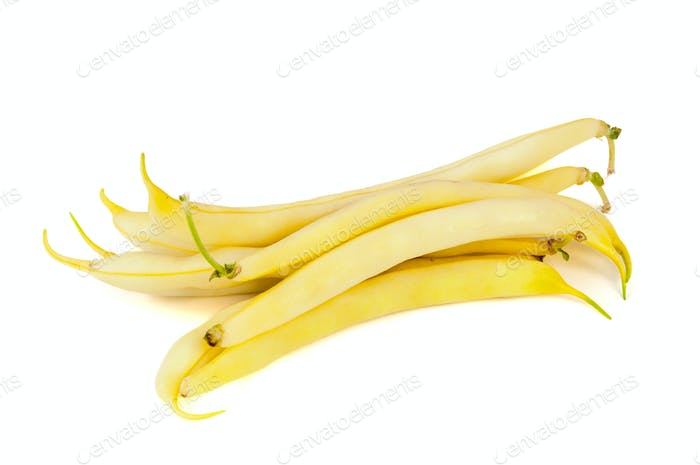 Yellow beans on white background