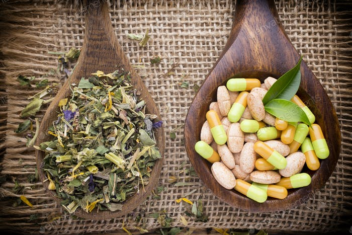 Homeopathic supplement. Alternative Medicine. Vitamin capsules.