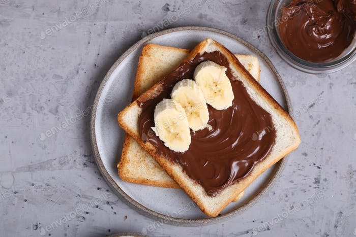 Toast with Chocolate Paste and Banana