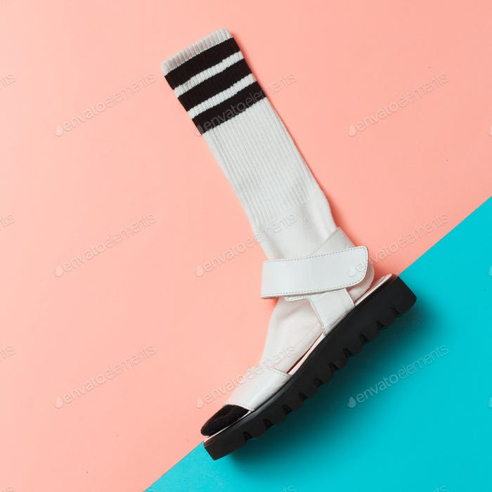 Sandals and socks. Summer minimal creative. Hipster style Top vi
