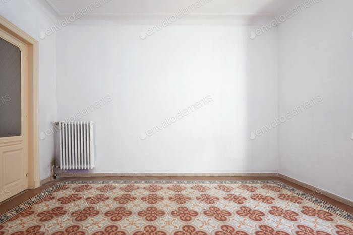 Empty room interior with liberty tiled floor with decoration