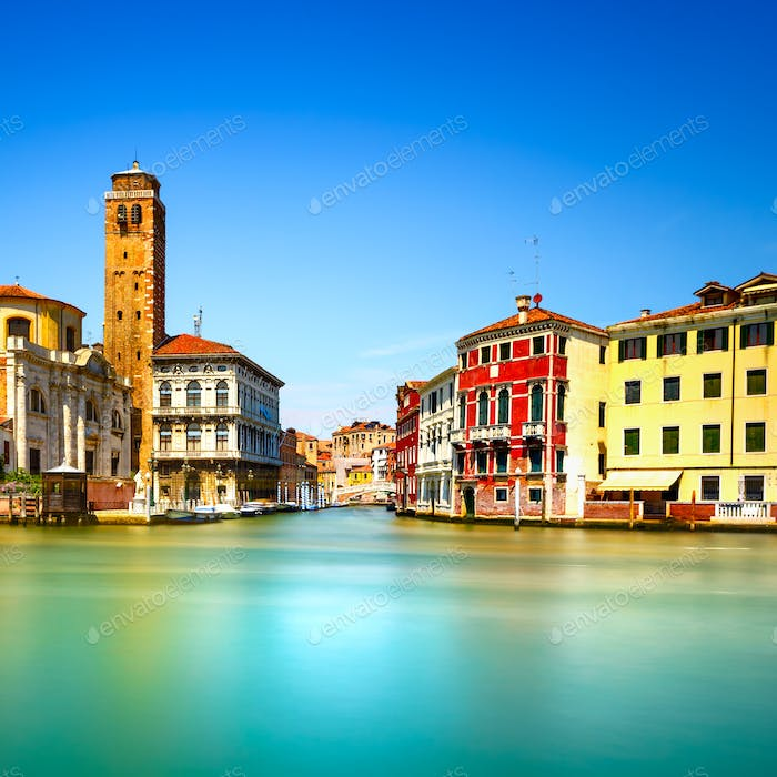 Venice grand canal, San Geremia church campanile landmark. Italy