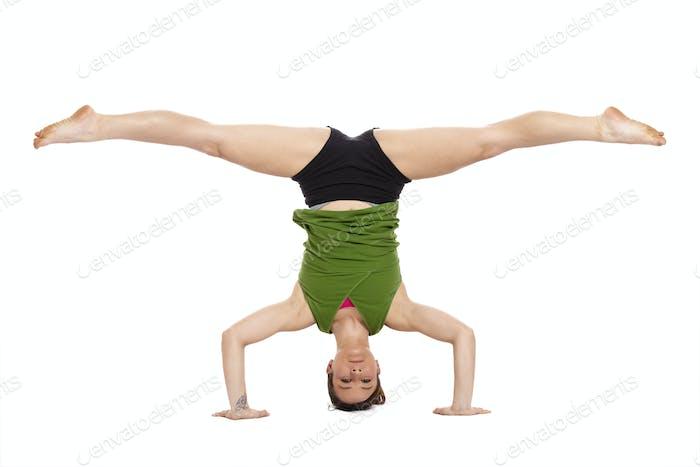 woman doing inverted split