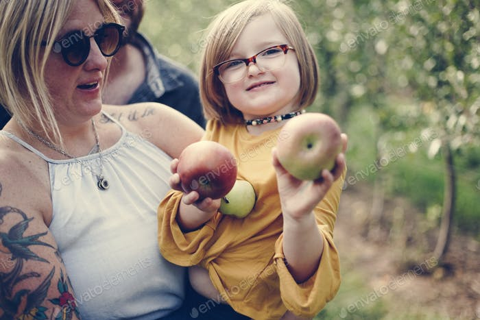 Little girl holding some apples
