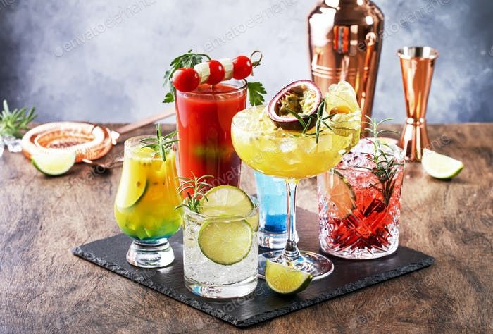 popular bright refreshing alcohol drinks and beverages