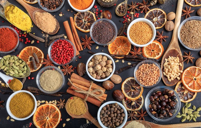 Composition of spices on a black background